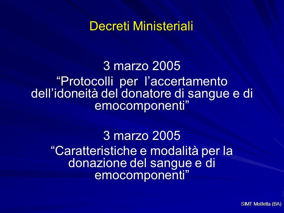Decreti Ministeriali 3 marzo 2005 Protocolli per laccertamento dellidoneità del donatore di sangue e di emocomponenti 3 marzo 2005 Caratteristiche e modalità per la donazione del sangue e di emocomponenti SIMT Molfetta (BA)