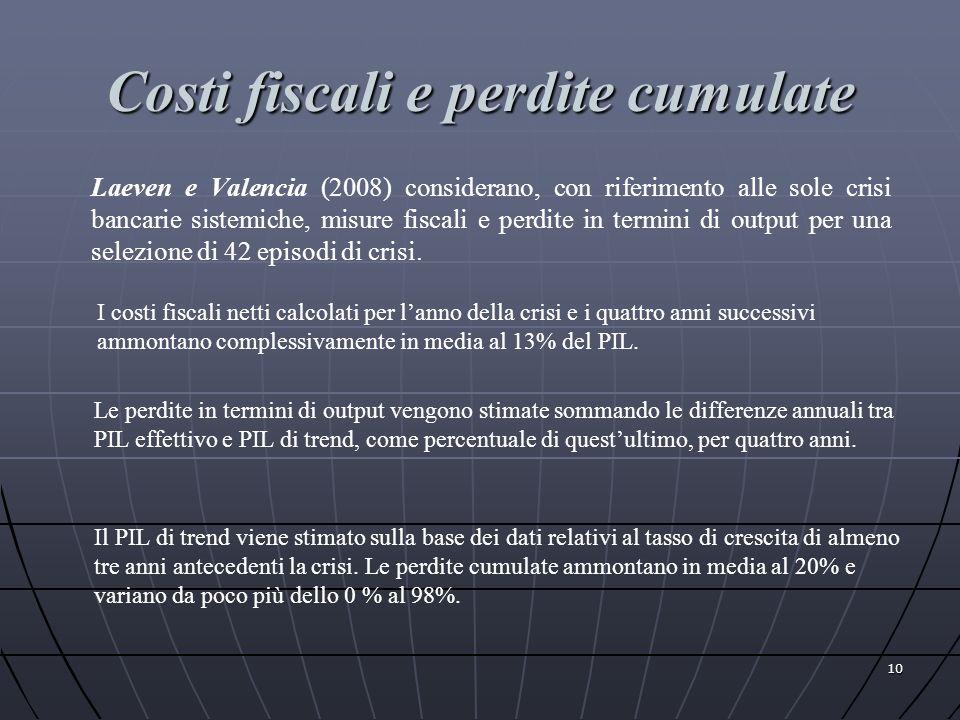 Costi fiscali e perdite cumulate Laeven e Valencia (2008) considerano, con riferimento alle sole crisi bancarie sistemiche, misure fiscali e perdite i