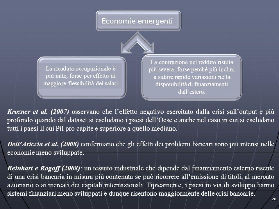 26 Economie emergenti La ricaduta occupazionale è più mite, forse per effetto di maggiore flessibilità dei salari La contrazione nel reddito risulta p