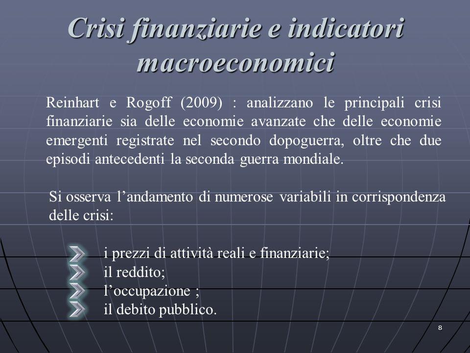 Crisi finanziarie e indicatori macroeconomici 8 Reinhart e Rogoff (2009) : analizzano le principali crisi finanziarie sia delle economie avanzate che