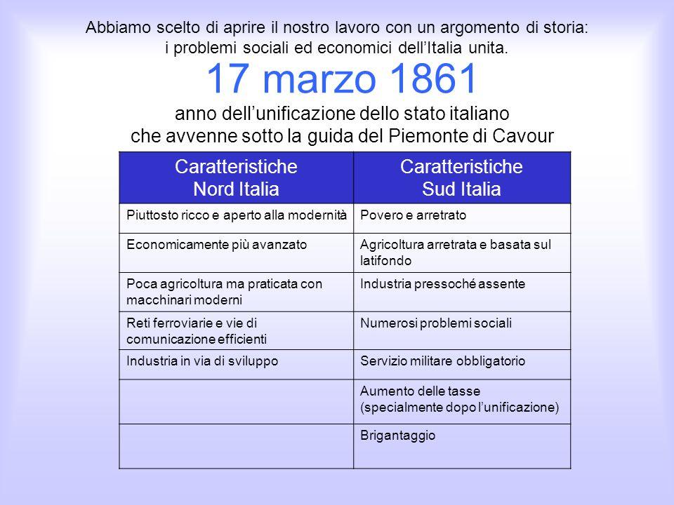 17 marzo 1861 anno dellunificazione dello stato italiano che avvenne sotto la guida del Piemonte di Cavour Caratteristiche Nord Italia Caratteristiche