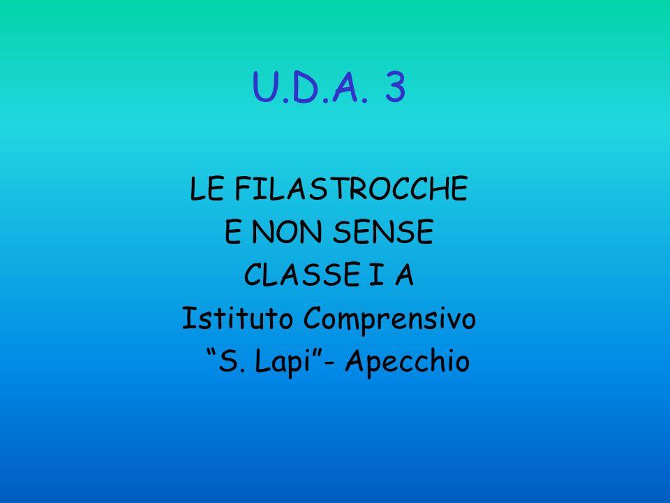 U.D.A. 3 LE FILASTROCCHE E NON SENSE CLASSE I A Istituto Comprensivo S. Lapi- Apecchio