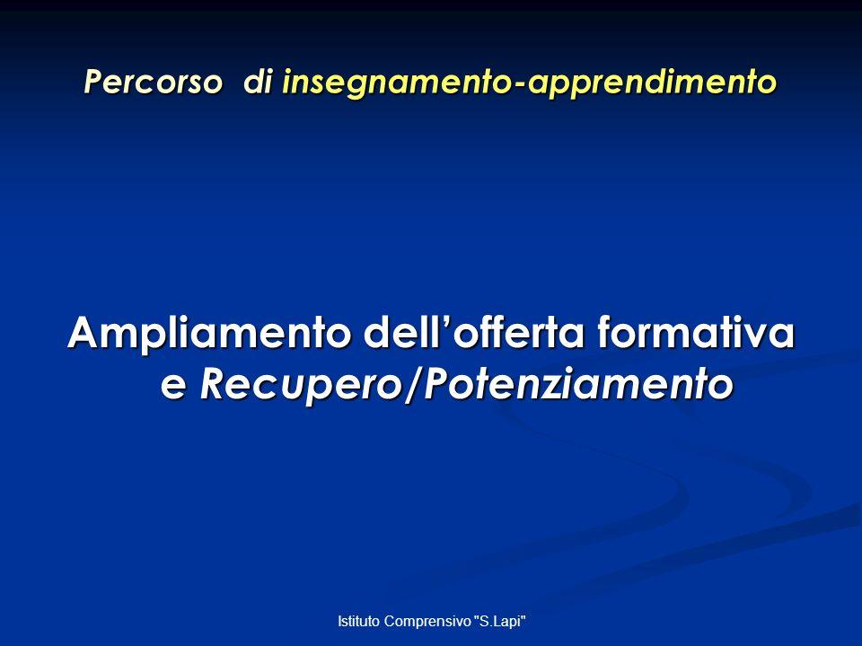 Istituto Comprensivo S.Lapi Percorso di insegnamento-apprendimento Ampliamento dellofferta formativa e Recupero/Potenziamento