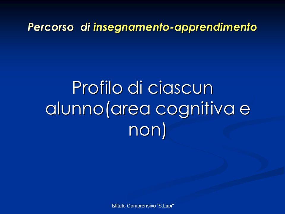 Istituto Comprensivo S.Lapi Percorso di insegnamento-apprendimento Profilo di ciascun alunno(area cognitiva e non)