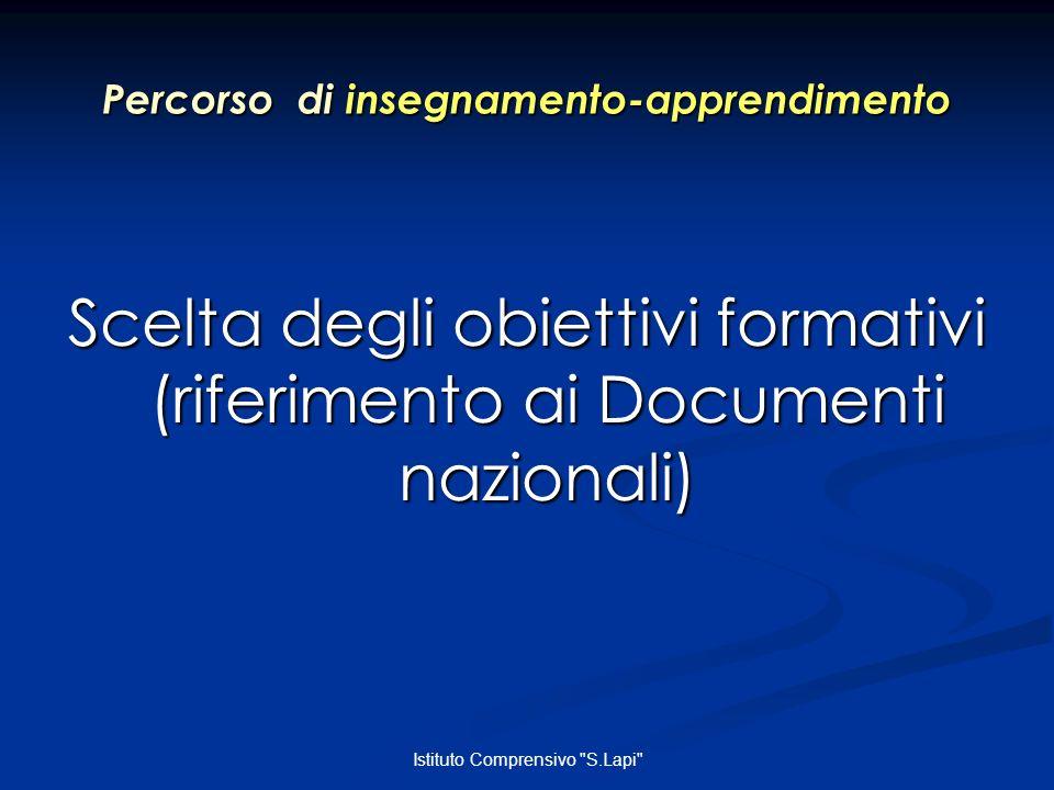 Istituto Comprensivo S.Lapi Percorso di insegnamento-apprendimento Scelta degli obiettivi formativi (riferimento ai Documenti nazionali)