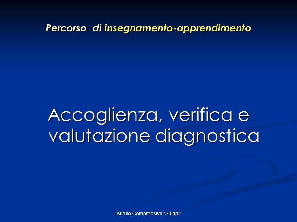 Istituto Comprensivo S.Lapi Percorso di insegnamento-apprendimento Accoglienza, verifica e valutazione diagnostica