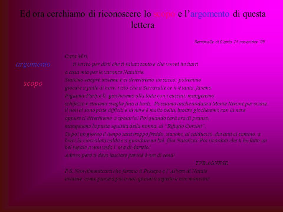 Ed ora cerchiamo di riconoscere lo scopo e largomento di questa lettera argomento scopo Serravalle di Carda 24 novembre 09 Cara Miri, ti scrivo per di