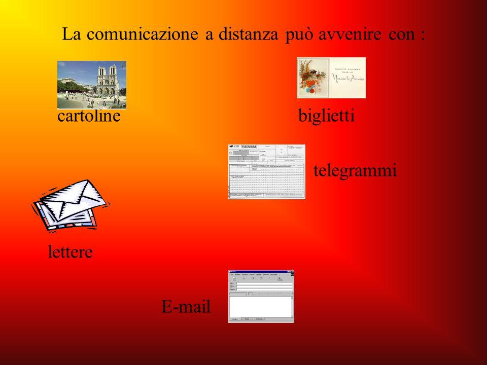 La comunicazione a distanza può avvenire con : cartoline biglietti telegrammi lettere E-mail