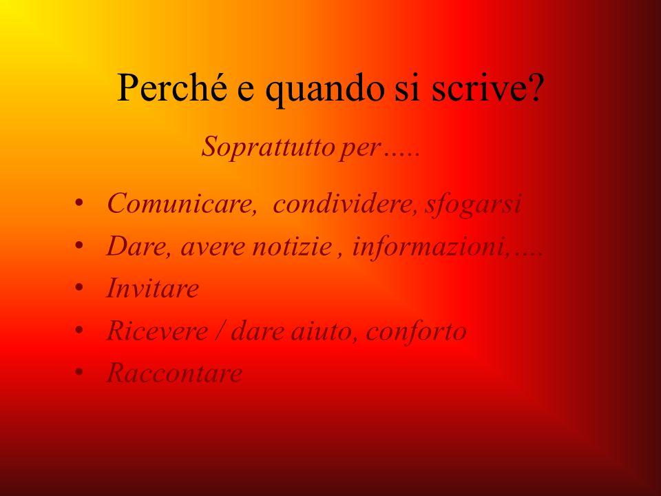 Comunicare, condividere, sfogarsi Dare, avere notizie, informazioni,…. Invitare Ricevere / dare aiuto, conforto Raccontare Perché e quando si scrive?