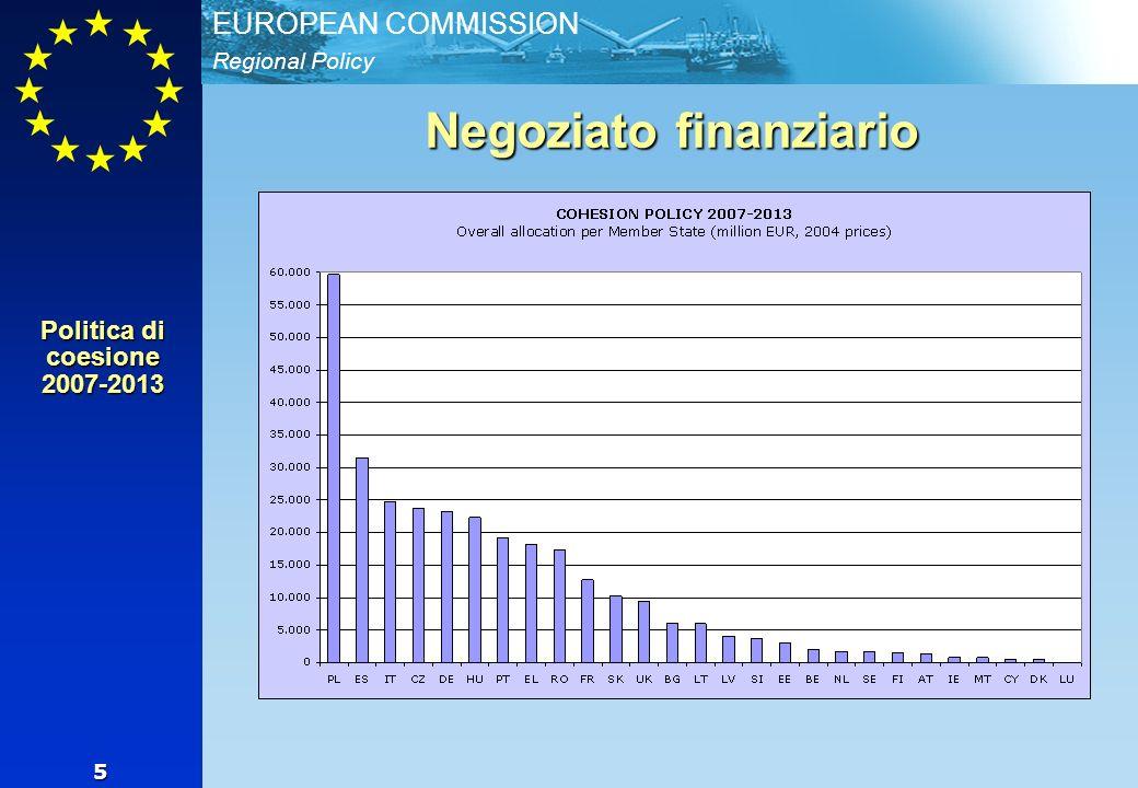 Regional Policy EUROPEAN COMMISSION 5 Negoziato finanziario Politica di coesione 2007-2013
