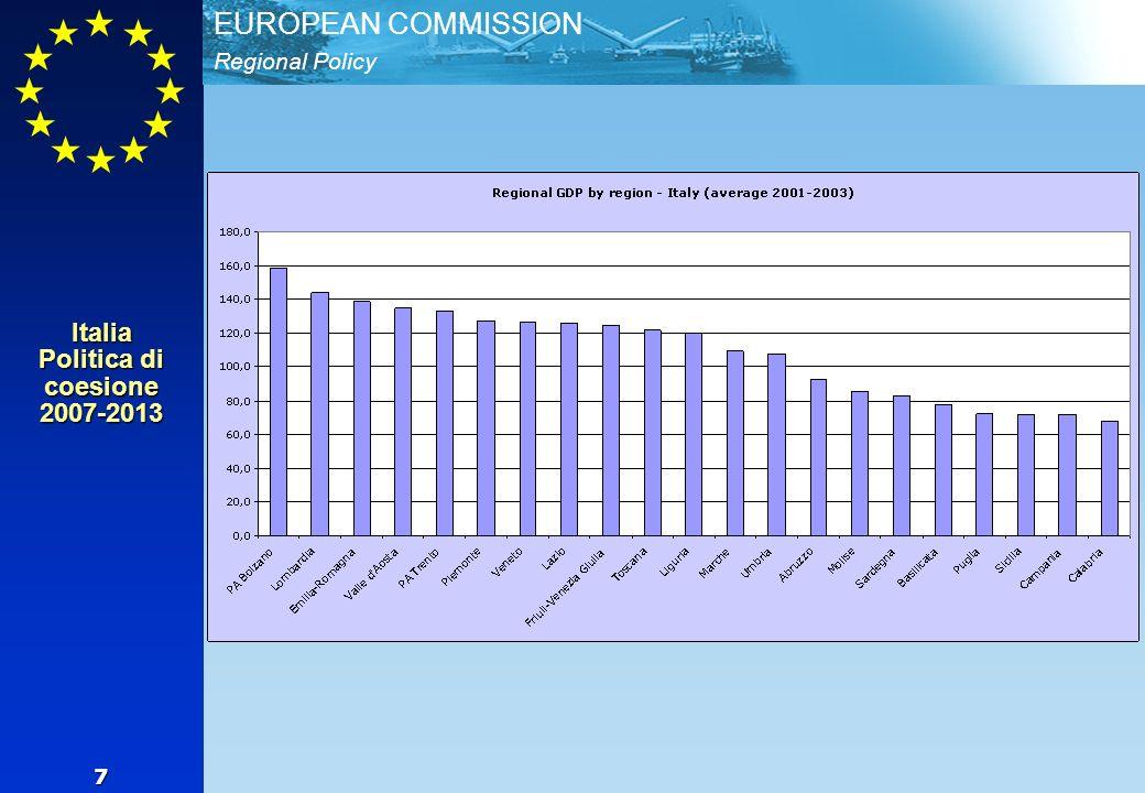 Regional Policy EUROPEAN COMMISSION 7 Italia Politica di coesione 2007-2013