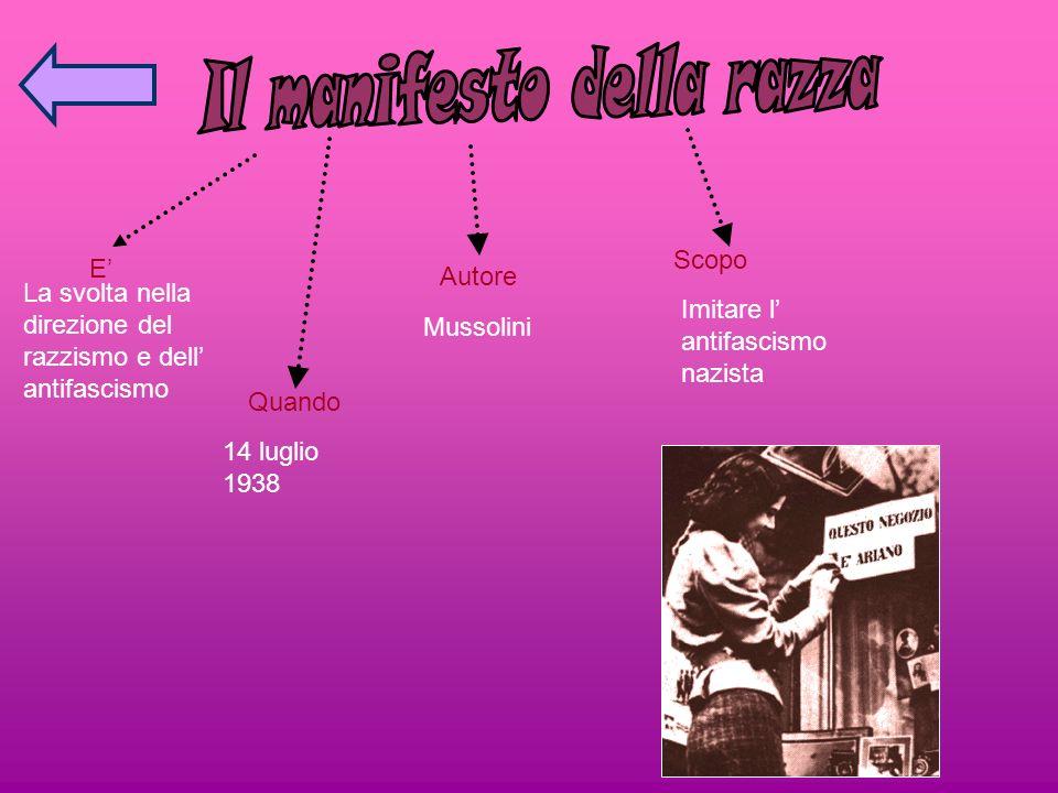E La svolta nella direzione del razzismo e dell antifascismo Quando 14 luglio 1938 Autore Mussolini Scopo Imitare l antifascismo nazista