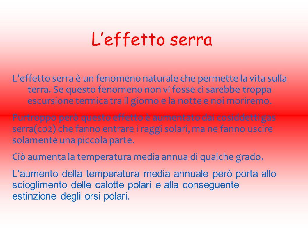 Leffetto serra Leffetto serra è un fenomeno naturale che permette la vita sulla terra.