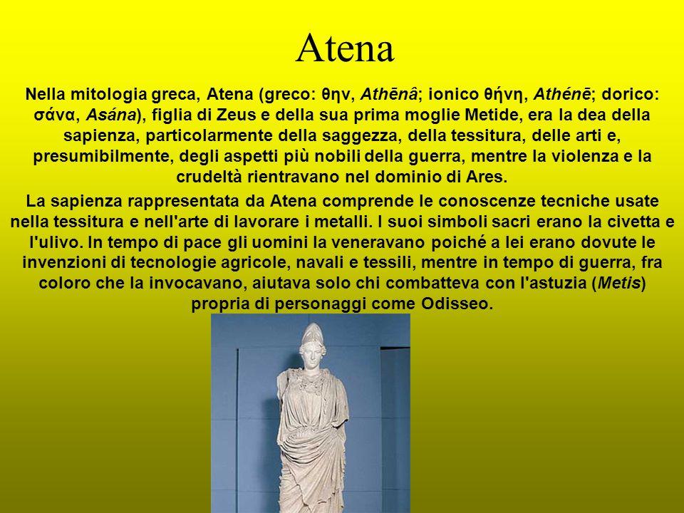 Atena Nella mitologia greca, Atena (greco: θην, Athēnâ; ionico θήνη, Athénē; dorico: σάνα, Asána), figlia di Zeus e della sua prima moglie Metide, era