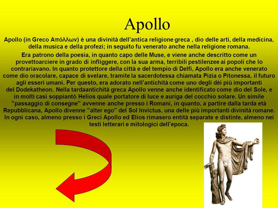Apollo Apollo (in Greco Απόλλων) è una divinità dell'antica religione greca, dio delle arti, della medicina, della musica e della profezi; in seguito