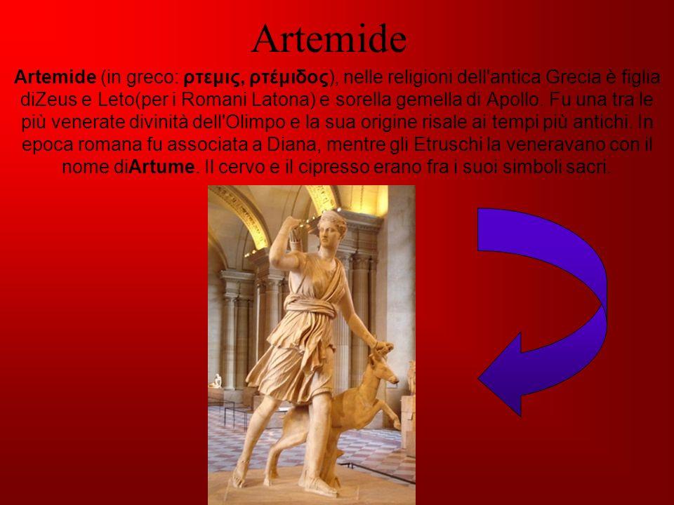 Artemide Artemide (in greco: ρτεμις, ρτέμιδος), nelle religioni dell'antica Grecia è figlia diZeus e Leto(per i Romani Latona) e sorella gemella di Ap