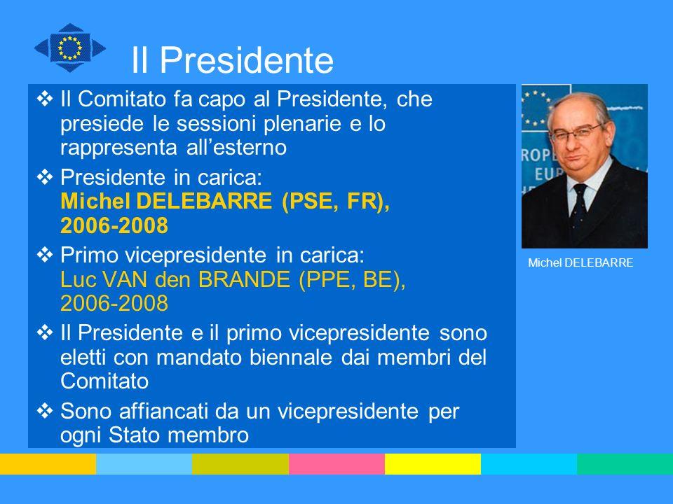 Il Presidente Il Comitato fa capo al Presidente, che presiede le sessioni plenarie e lo rappresenta allesterno Presidente in carica: Michel DELEBARRE