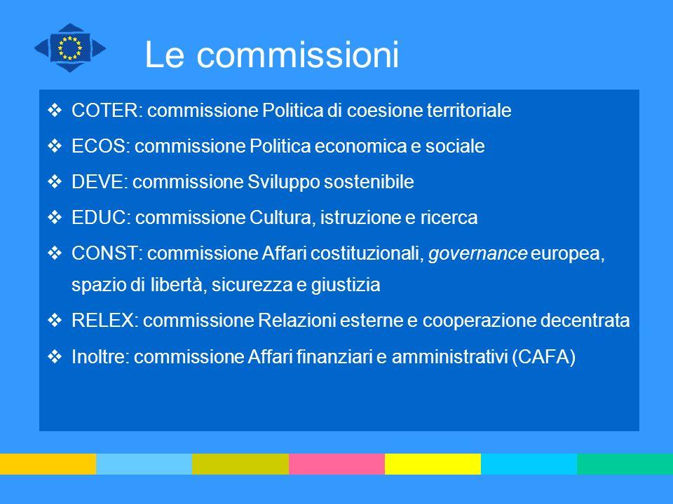 Le commissioni COTER: commissione Politica di coesione territoriale ECOS: commissione Politica economica e sociale DEVE: commissione Sviluppo sostenib