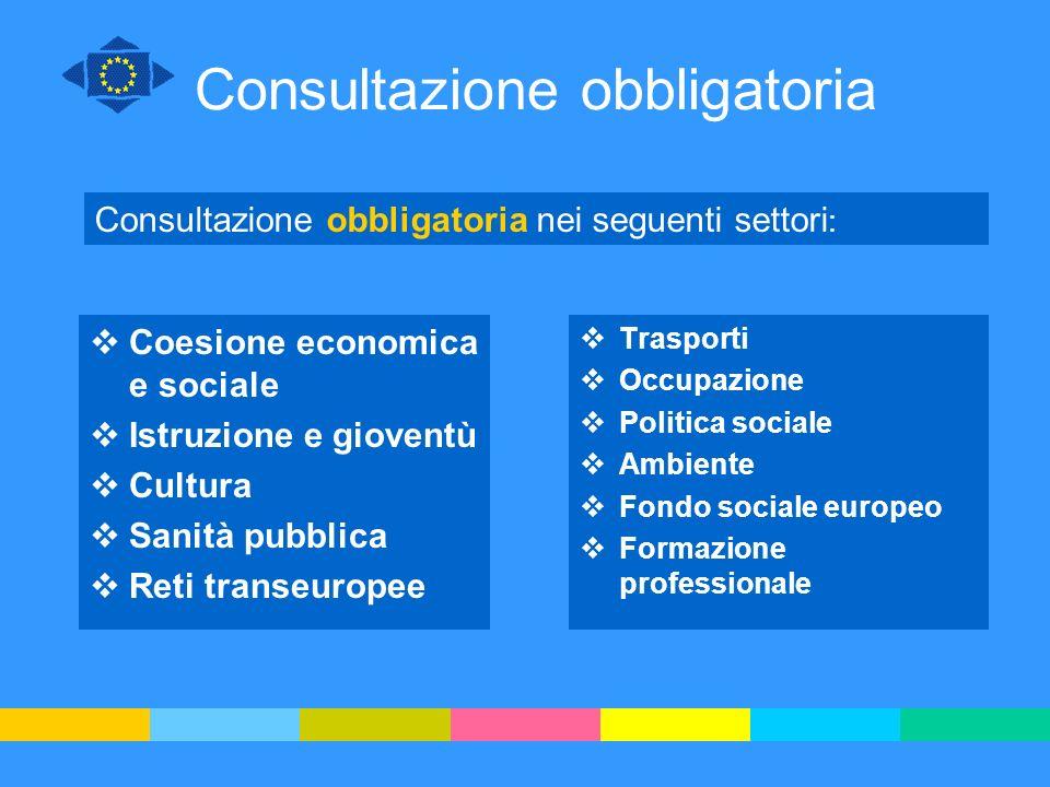 Consultazione obbligatoria Coesione economica e sociale Istruzione e gioventù Cultura Sanità pubblica Reti transeuropee Trasporti Occupazione Politica