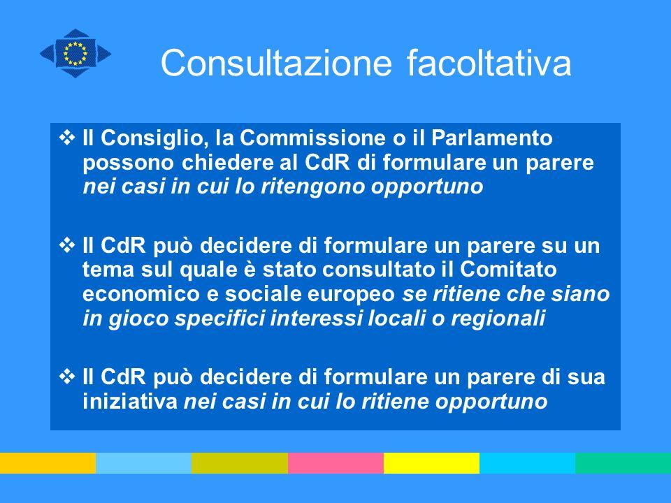 Consultazione facoltativa Il Consiglio, la Commissione o il Parlamento possono chiedere al CdR di formulare un parere nei casi in cui lo ritengono opp