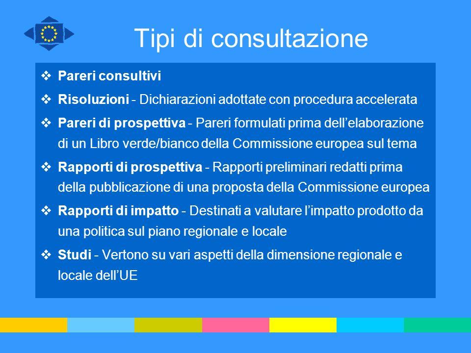 Tipi di consultazione Pareri consultivi Risoluzioni - Dichiarazioni adottate con procedura accelerata Pareri di prospettiva - Pareri formulati prima d