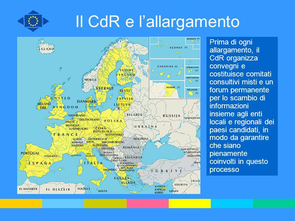 Il CdR e lallargamento Prima di ogni allargamento, il CdR organizza convegni e costituisce comitati consultivi misti e un forum permanente per lo scam
