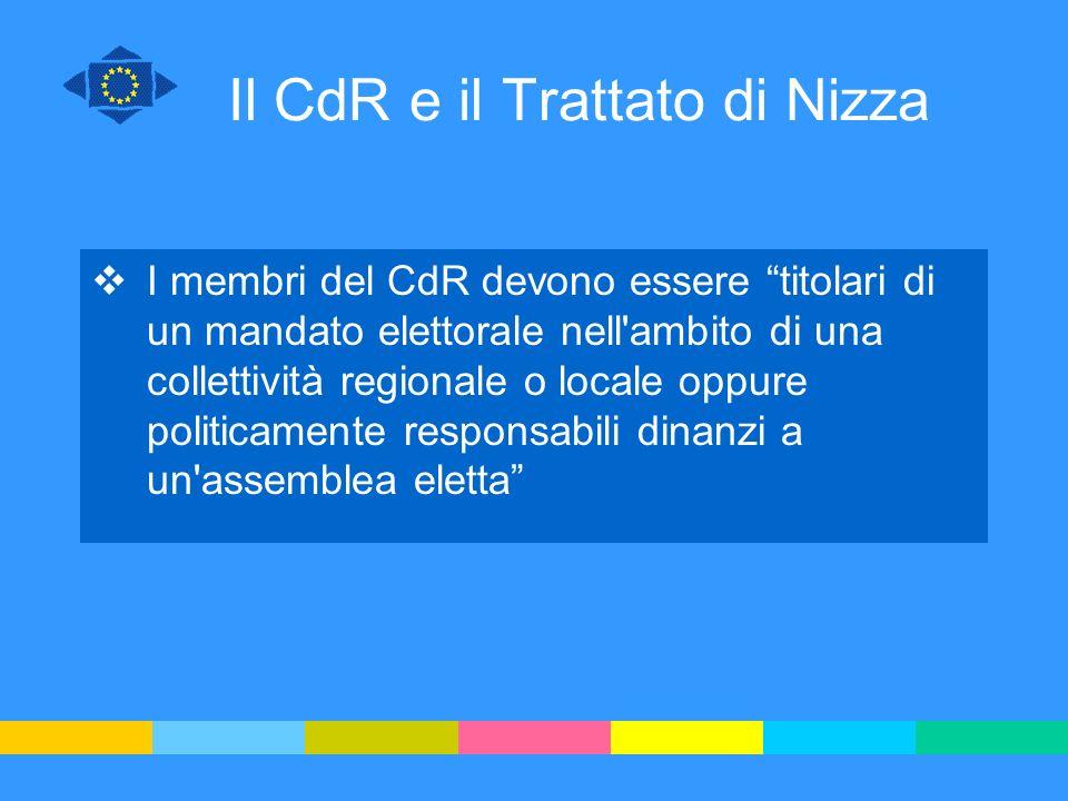 Il CdR e il Trattato di Nizza I membri del CdR devono essere titolari di un mandato elettorale nell'ambito di una collettività regionale o locale oppu