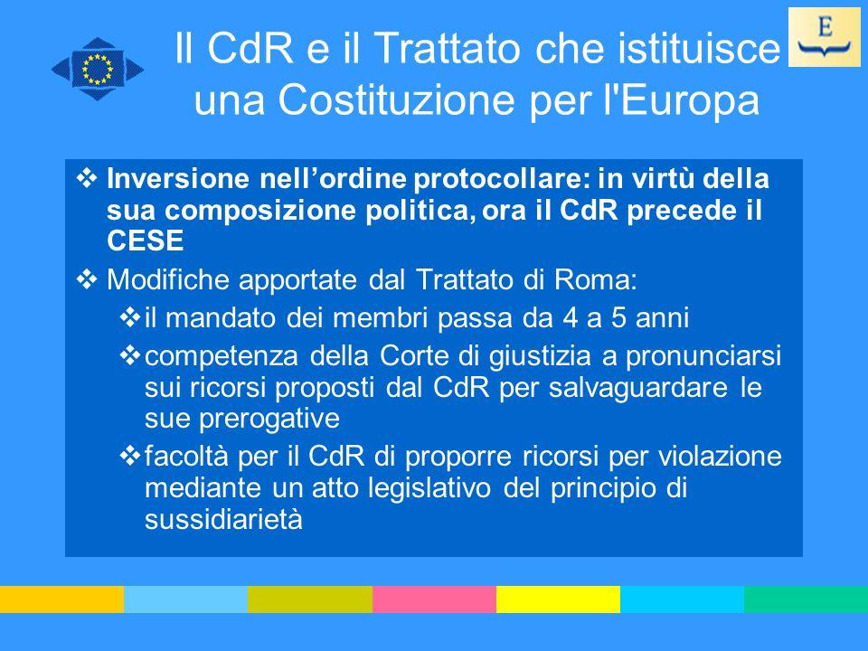 Il CdR e il Trattato che istituisce una Costituzione per l'Europa Inversione nellordine protocollare: in virtù della sua composizione politica, ora il