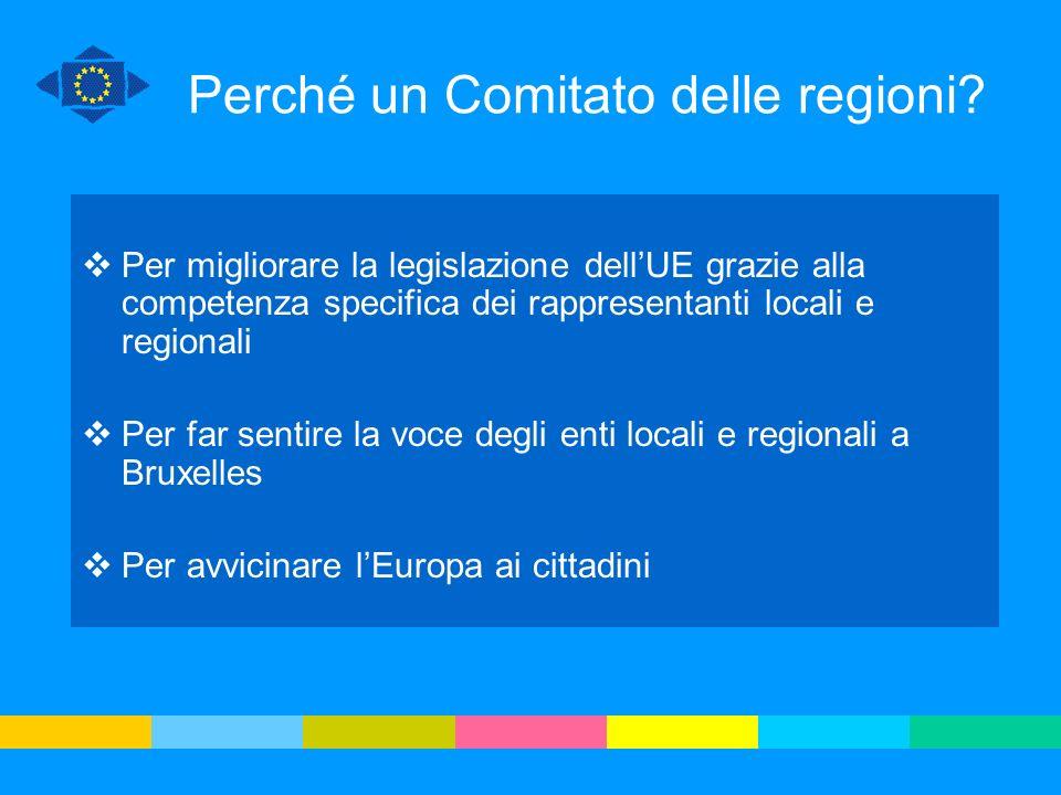 Il CdR e il processo decisionale europeo Commissione europea Parlamento europeo Consiglio dellUE DECISIONE PROPOSTA CODECISIONE CONSULTAZIONE CESE CdR