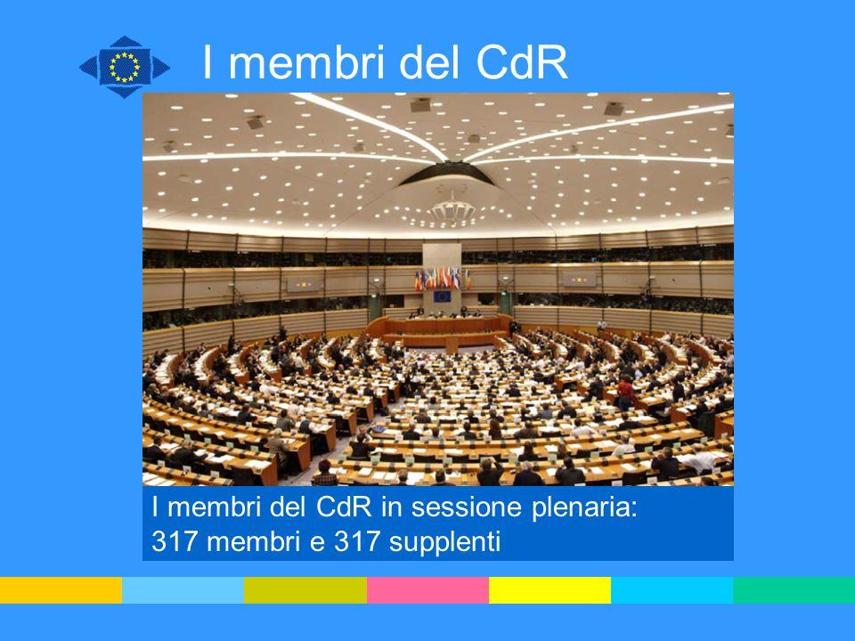 I membri del CdR Rappresentanti locali e regionali, proposti dagli Stati membri Ufficialmente nominati dal Consiglio Mandato quadriennale rinnovabile Costituiscono gruppi politici Formano delegazioni nazionali Fanno parte di commissioni tematiche