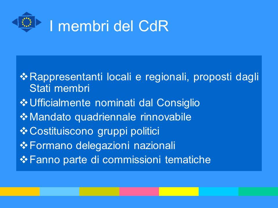 I membri del CdR Rappresentanti locali e regionali, proposti dagli Stati membri Ufficialmente nominati dal Consiglio Mandato quadriennale rinnovabile