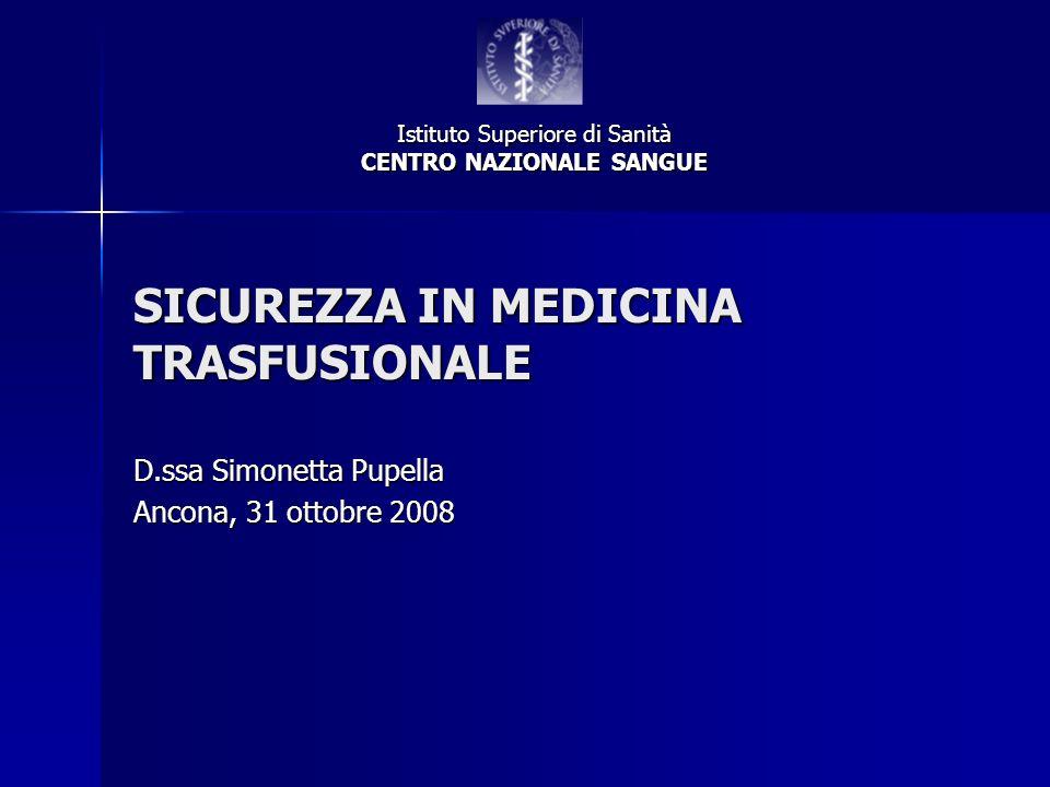 SICUREZZA IN MEDICINA TRASFUSIONALE D.ssa Simonetta Pupella Ancona, 31 ottobre 2008 Istituto Superiore di Sanità CENTRO NAZIONALE SANGUE