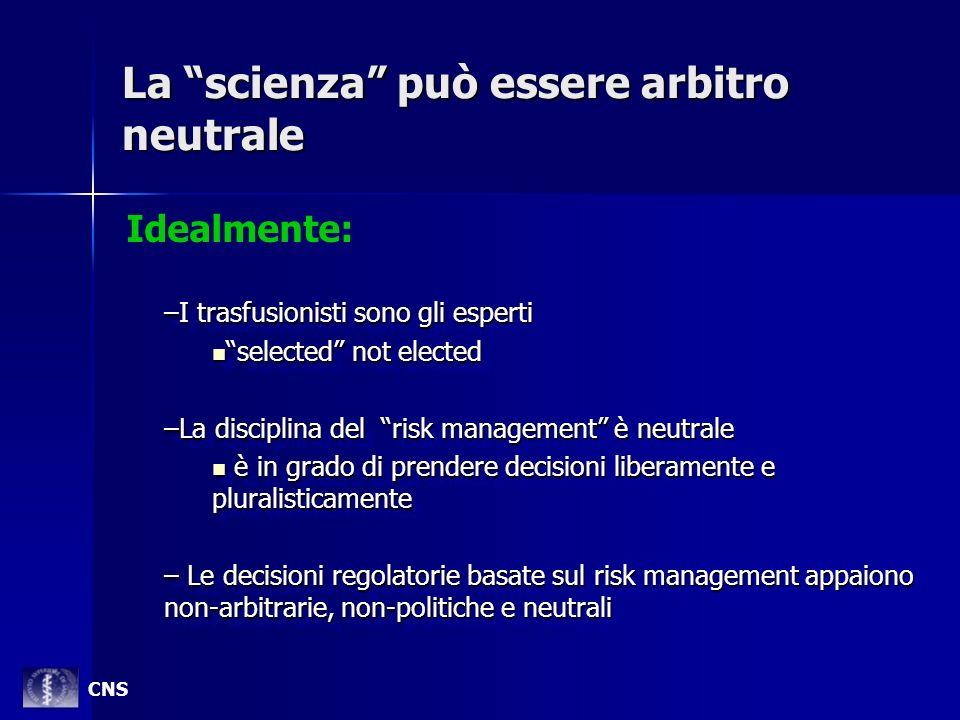 La scienza può essere arbitro neutrale –I trasfusionisti sono gli esperti selected not elected selected not elected –La disciplina del risk management