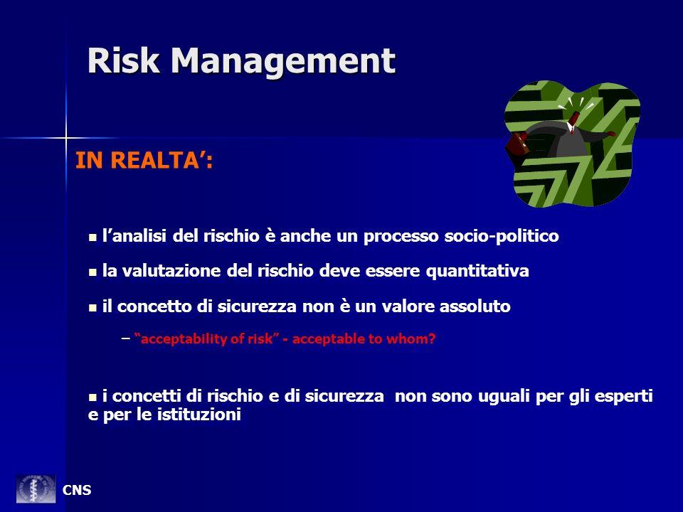 Risk Management lanalisi del rischio è anche un processo socio-politico la valutazione del rischio deve essere quantitativa il concetto di sicurezza n