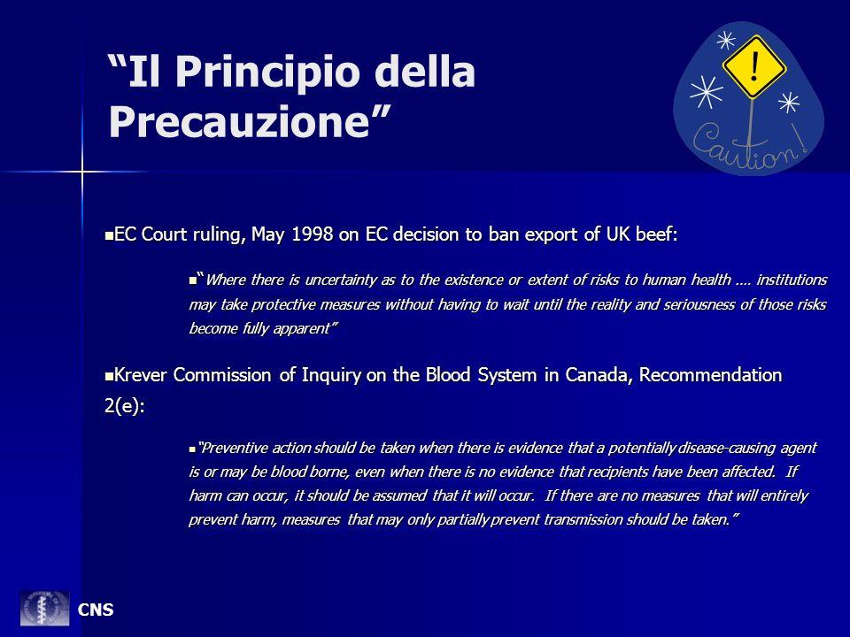 Il Principio della Precauzione EC Court ruling, May 1998 on EC decision to ban export of UK beef: EC Court ruling, May 1998 on EC decision to ban expo