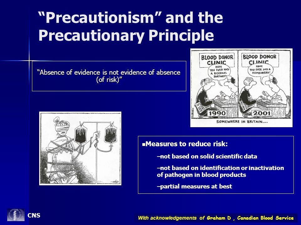 Precautionism and the Precautionary Principle Absence of evidence is not evidence of absence (of risk) Measures to reduce risk: –not based on solid sc