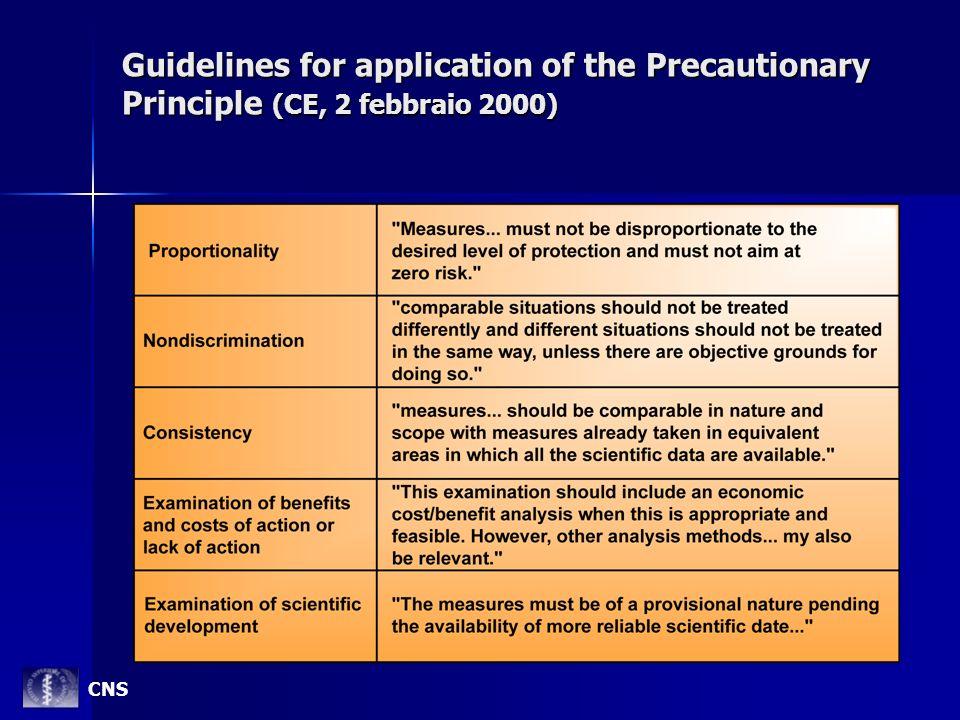 Guidelines for application of the Precautionary Principle (CE, 2 febbraio 2000) CNS
