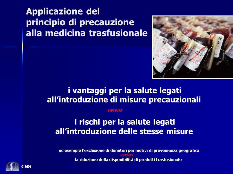 Applicazione del principio di precauzione alla medicina trasfusionale i vantaggi per la salute legati allintroduzione di misure precauzionali versus i