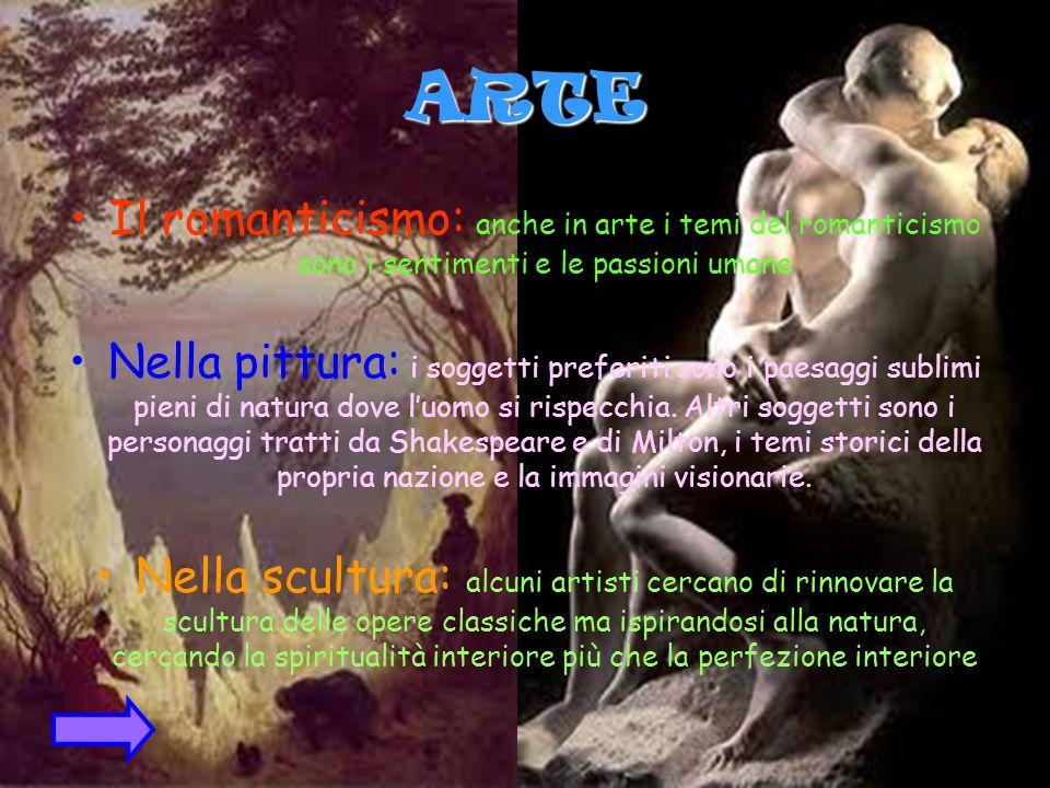 ARTE Il romanticismo: anche in arte i temi del romanticismo sono i sentimenti e le passioni umane Nella pittura: i soggetti preferiti sono i paesaggi