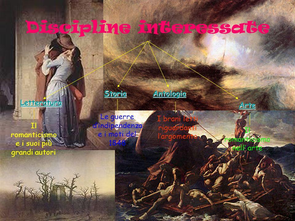 Discipline interessate Arte Il romanticismo nell arte Letteratura Storia Le guerre dindipendenza e i moti del 1848 Il romanticismo e i suoi più grandi