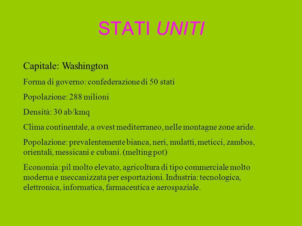 STATI UNITI Capitale: Washington Forma di governo: confederazione di 50 stati Popolazione: 288 milioni Densità: 30 ab/kmq Clima continentale, a ovest mediterraneo, nelle montagne zone aride.