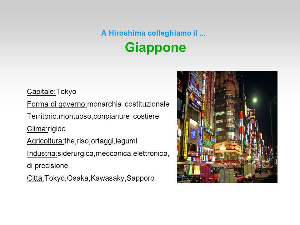 A Hiroshima colleghiamo il... Giappone Capitale:Tokyo Forma di governo:monarchia costituzionale Territorio:montuoso,conpianure costiere Clima:rigido A