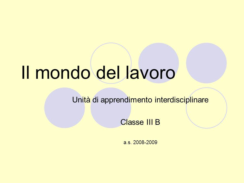 Il mondo del lavoro Unità di apprendimento interdisciplinare Classe III B a.s. 2008-2009