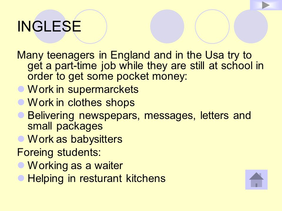 INGLESE Many teenagers in England and in the Usa try to get a part-time job while they are still at school in order to get some pocket money: Work in