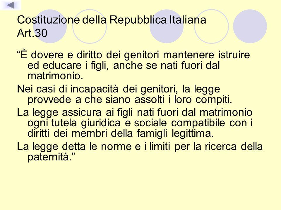 Costituzione della Repubblica Italiana Art.30 È dovere e diritto dei genitori mantenere istruire ed educare i figli, anche se nati fuori dal matrimoni
