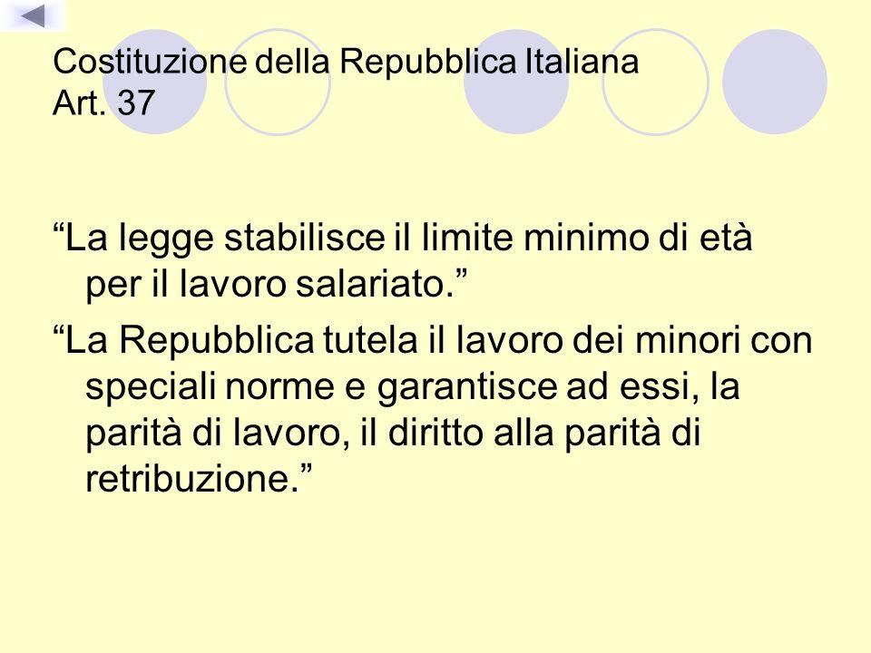 Costituzione della Repubblica Italiana Art. 37 La legge stabilisce il limite minimo di età per il lavoro salariato. La Repubblica tutela il lavoro dei