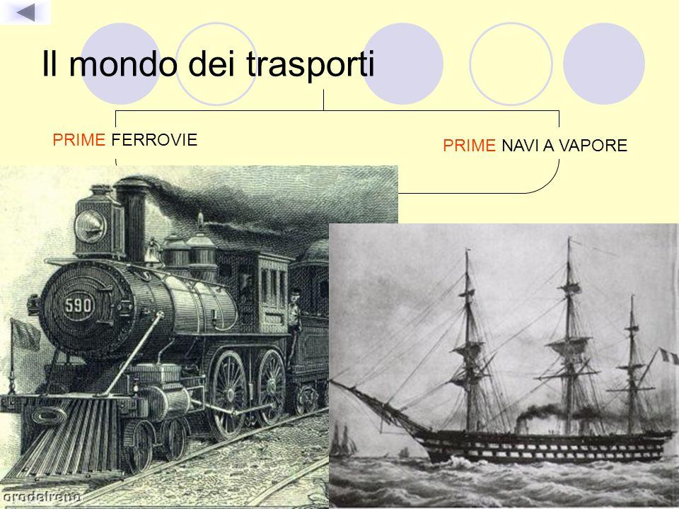 Il mondo dei trasporti PRIME FERROVIE PRIME NAVI A VAPORE Si muovevano grazie alla forza del vapore prodotto dalla combustione TRASPORTANO merci e per