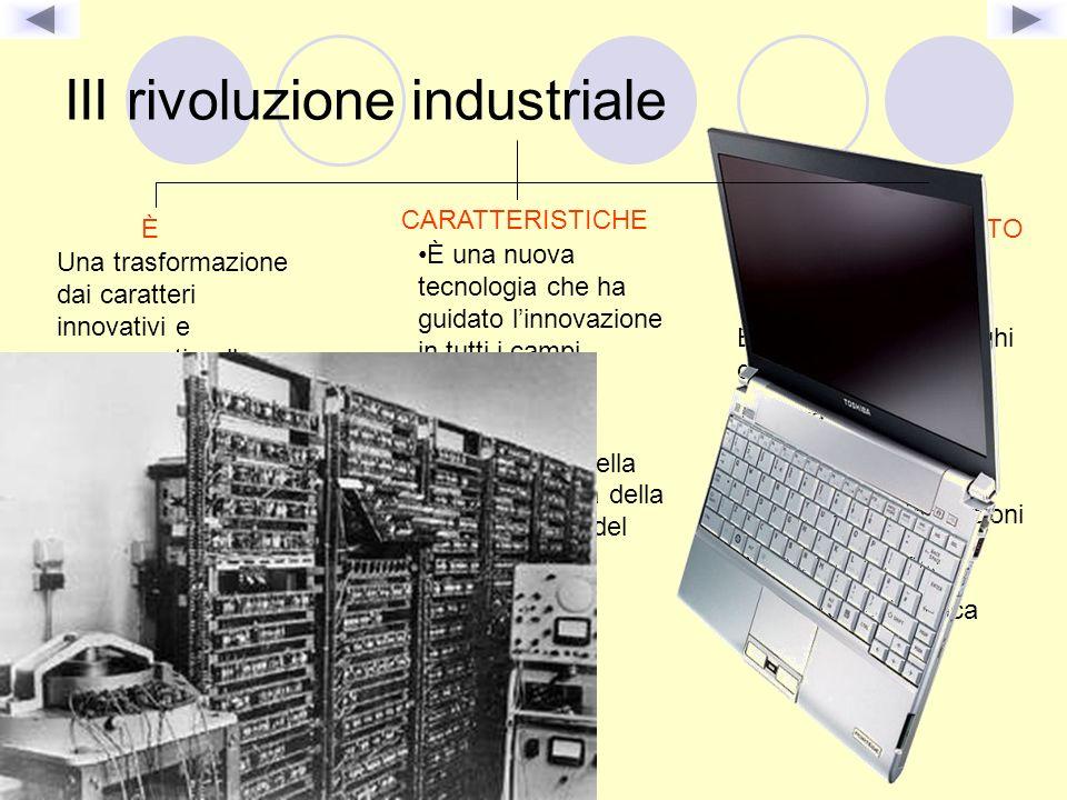 III rivoluzione industriale È Una trasformazione dai caratteri innovativi e permanenti nella struttura economica e sociale CARATTERISTICHE È una nuova