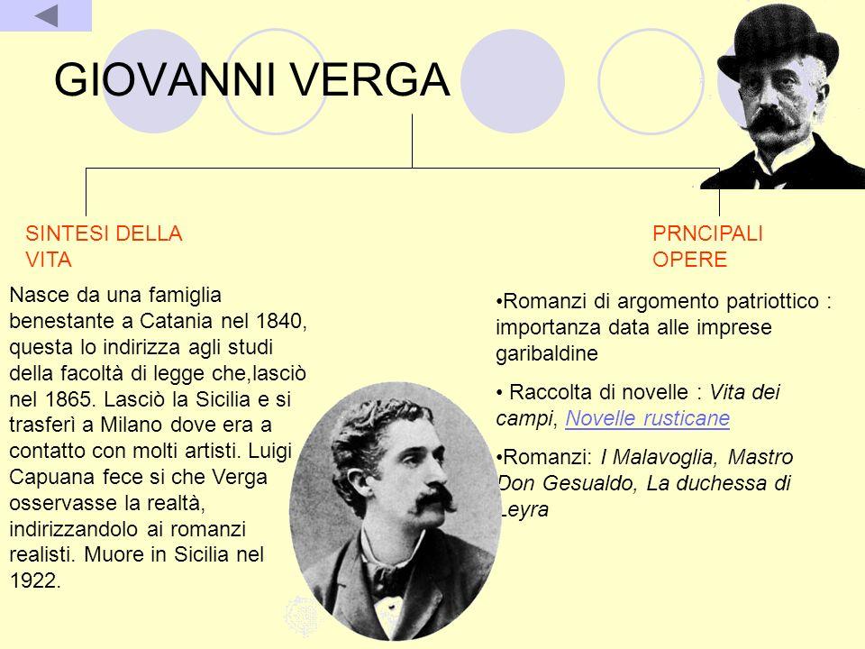 GIOVANNI VERGA SINTESI DELLA VITA Nasce da una famiglia benestante a Catania nel 1840, questa lo indirizza agli studi della facoltà di legge che,lasci