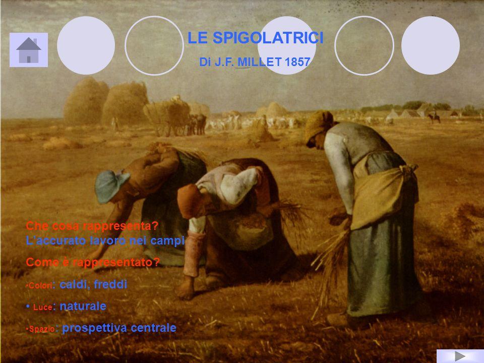 LE SPIGOLATRICI Di J.F. MILLET 1857 Che cosa rappresenta? Laccurato lavoro nei campi Come è rappresentato? Colori : caldi, freddi Luce : naturale Spaz